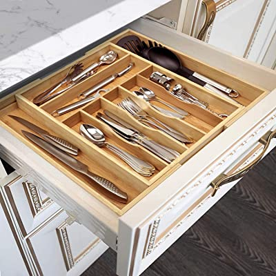 Buy Bamboo Kitchen Drawer Organizer Expandable Silverware Organizer Utensil Holder And Cutlery Tray With Grooved Drawer Dividers For Flatware And Kitchen Utensils 9 Slots Natural Online In Indonesia B07tvdfvv9