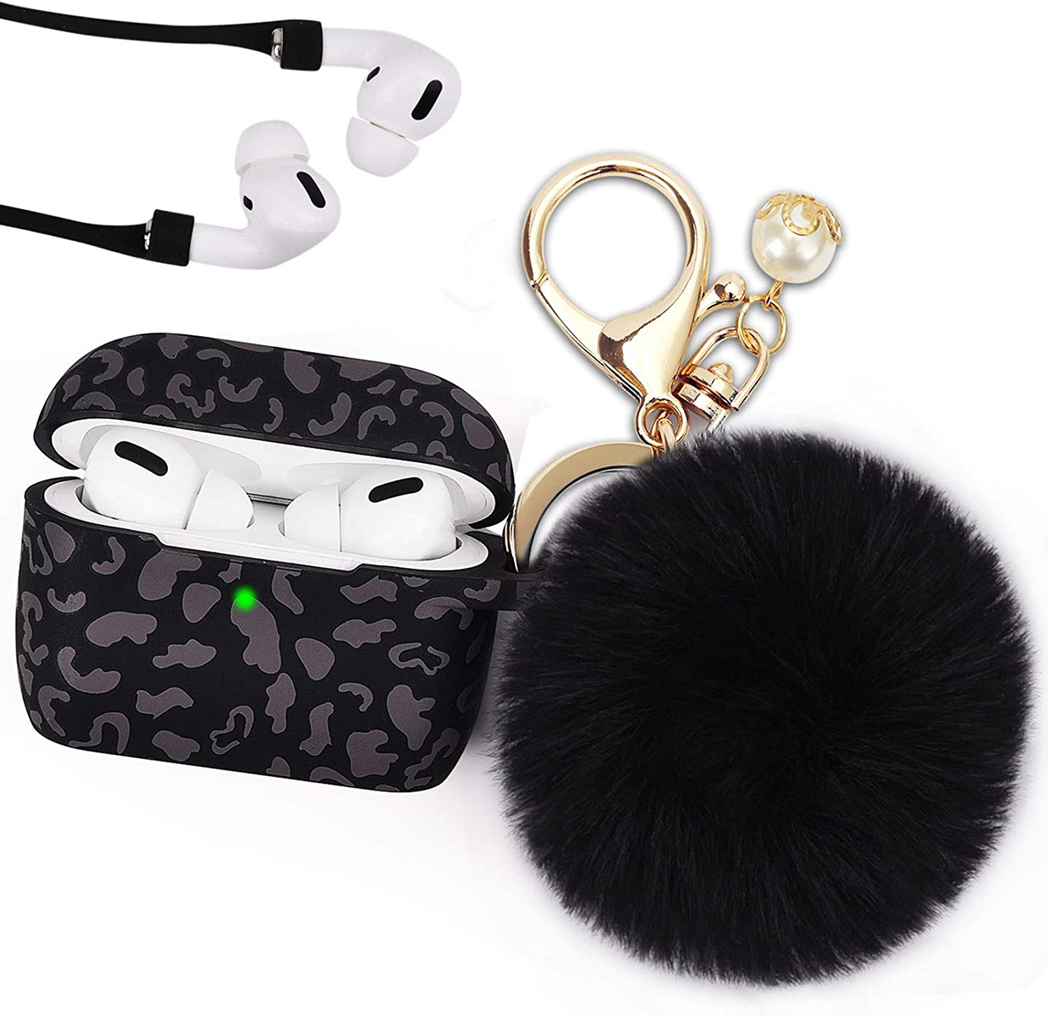 Leopard Case for Airpods Pro, Filoto Airpod Pro Case Cover for Apple AirPods Pro, Cute Cheetah Print Air Pods 3 Silicone Protective Cases Accessories Keychain/Pompom/Strap (Dark Leopard)