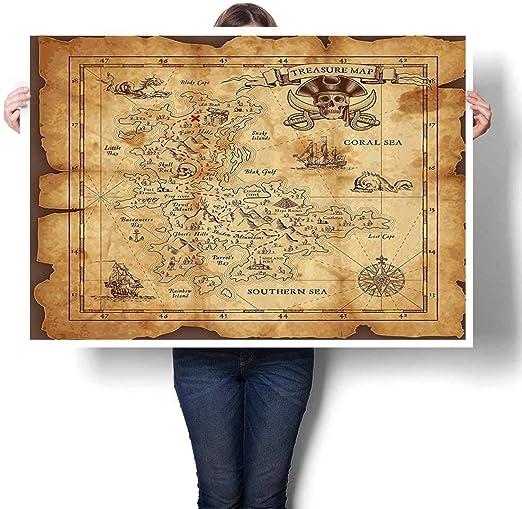 Cuadro 3D con diseño de mapa del tesoro y piratas rústicos, decoración de pared sin marco: Amazon.es: Juguetes y juegos