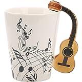 Guitar Music Unique Art Musical Notes Holds Tea Coffee Milk Ceramic Mug Cup 12 oz Best Gift,Black