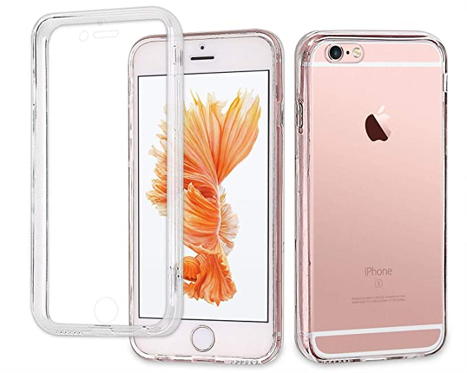 save off 8c9e4 be4a1 Casetego Compatible iPhone 6S/6 Case,360 Full Body Two Piece Slim Crystal  Transparent Case with Built-in Screen Protector for Apple iPhone 6S/6,Clear
