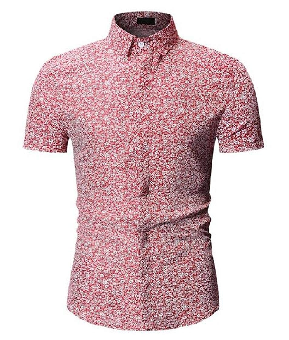 Nanquan Men Tropical Hawaiian Shirt Casual Button Down Short Sleeve Dress Shirt