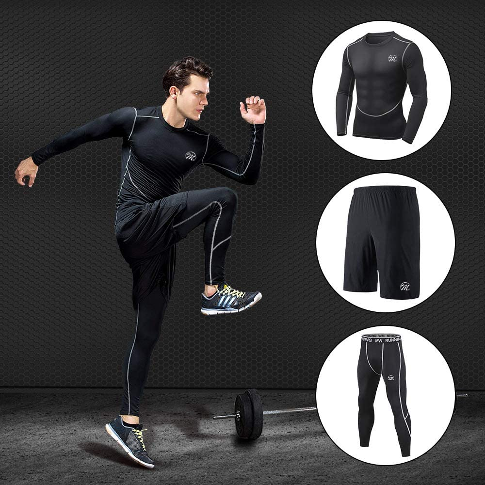 MEETEU Ensemble Compression Homme Tenue Sport Fitness V/êtement Running Tee Shirt Compression Legging Collant Sport Running Jogging Cyclisme