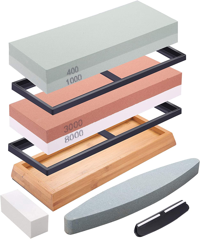 DaiWeier Piedra de afilar Grano Piedra de afilar de cuchillos profesional con Base de Silicona Antideslizante Piedra de Aplanamiento Gu/ía de /Ángulo