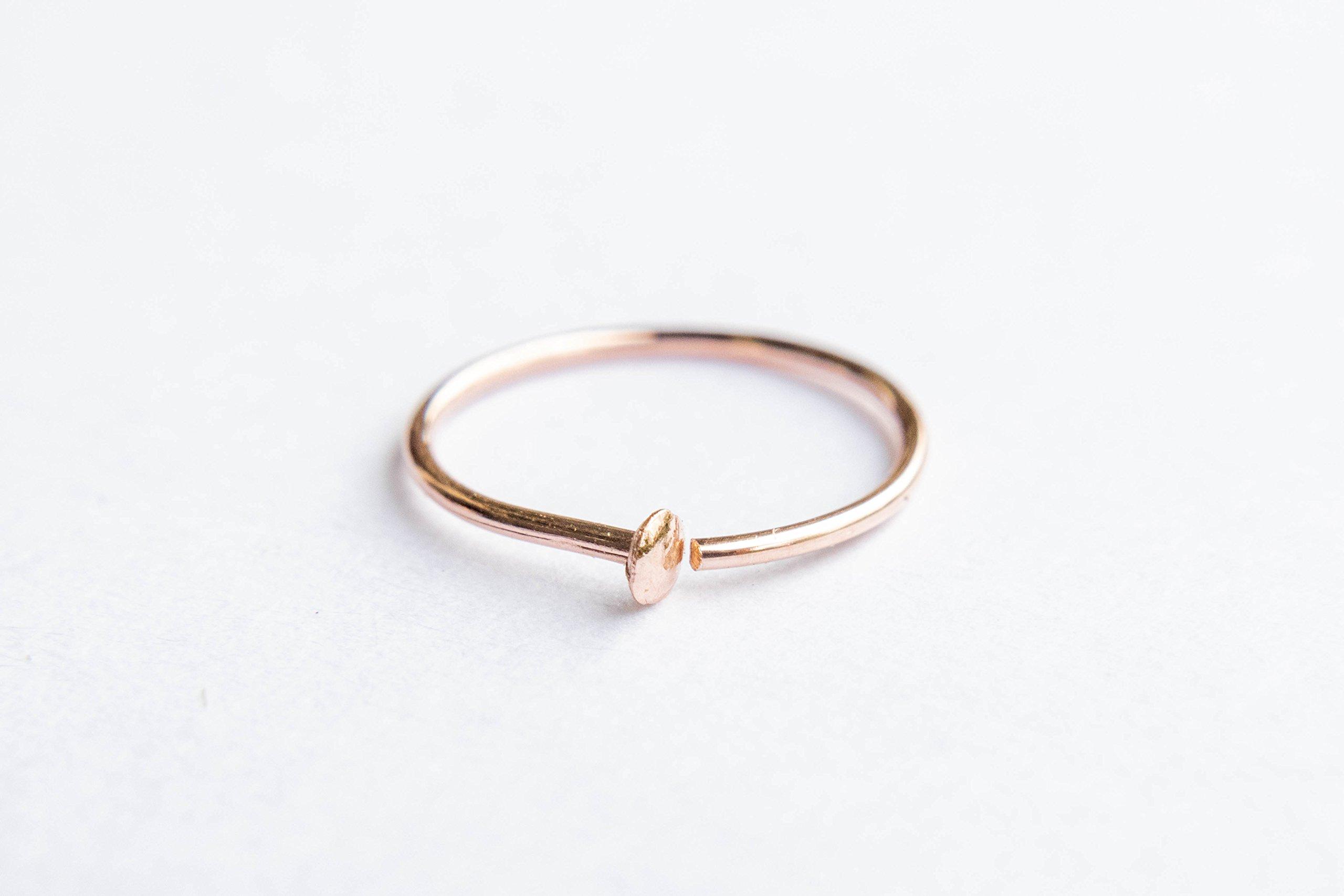 14k Rose Gold Filled Adjustable Metal Hoop Nose Ring - 24 Gauge 5-6mm