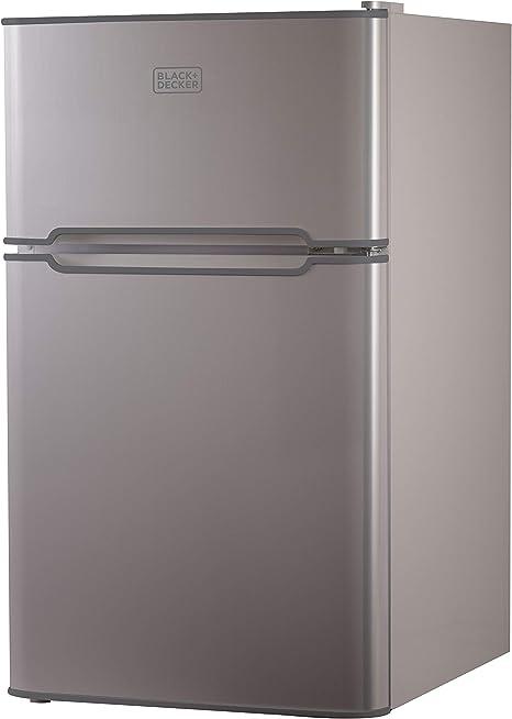 Refrigerador compacto Black + Decker, 2 puertas 3,1 pies cúbicos ...