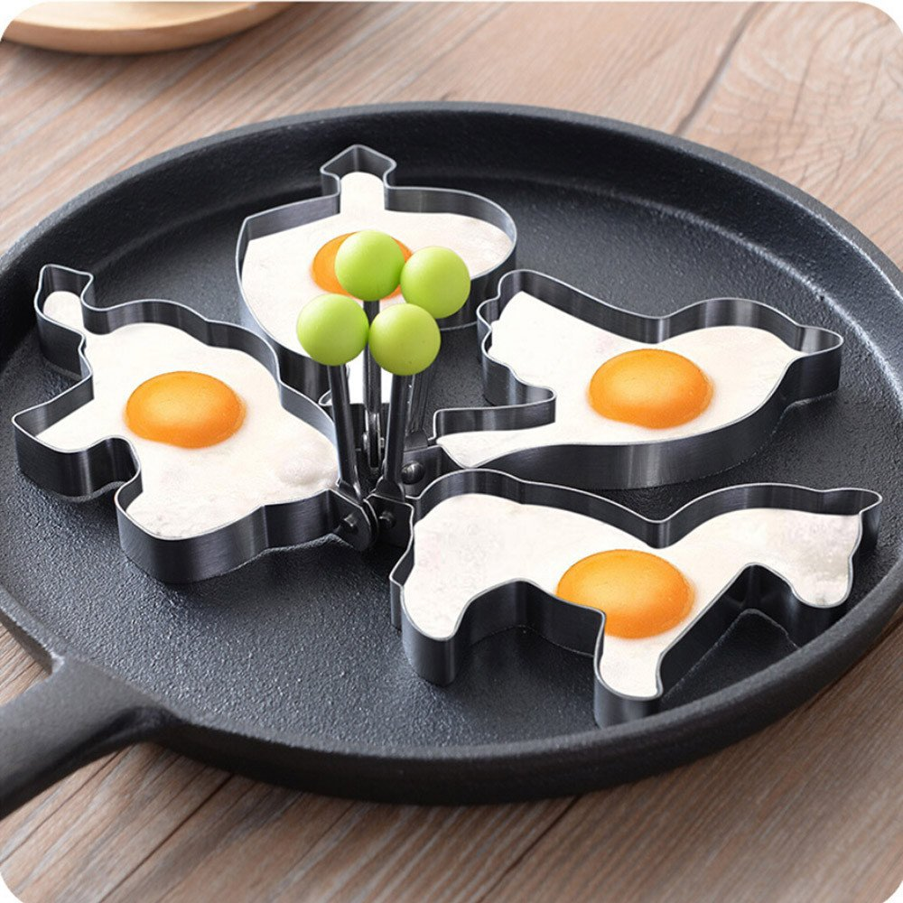 DEESEE(TM) Stainless Steel Fried Egg Shaper Pancake Mould Mold Kitchen Cooking Tools (E( 11×10.8×1.5cm)) by DEESEE(TM) (Image #3)