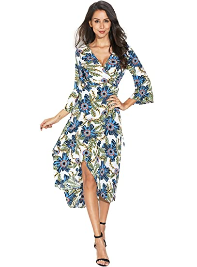 b542d6a945c8 Image Unavailable. Image not available for. Color: PYL Women's Flare Sleeve  V Neck Floral Wrap Midi Dress