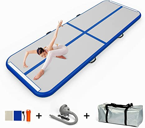 EZ GLAM 10ft/13ft/16ft/20ft Air Track Inflatable Gymnastics Tumbling Air Track Mat with Electric Air Pump for Cheerleading/Practice ...