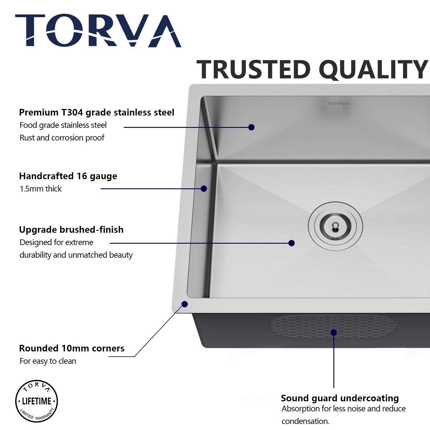 TORVA 30 Inch 16 Gauge Stainless Steel Undermount Kitchen Sink Single Bowl 10'' Deep by TORVA (Image #6)