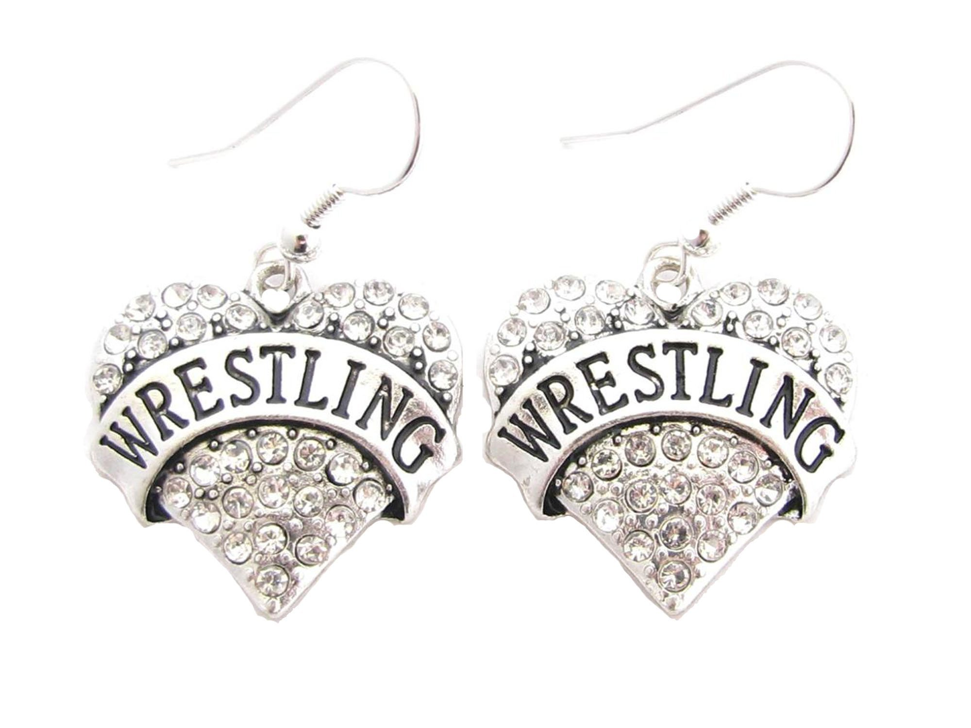 Wrestling Silver Plated Clear Crystal Heart Hook Wire Earrings Jewelry