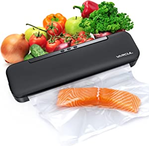 Vacuum Sealer Machine, VARCUL Portable Automatic Vacuum Air Sealing System Food Saver w/ Starter Kit丨LED Indicator Lights丨Compact Design丨Dry & Moist Food丨Easy to Clean & Use
