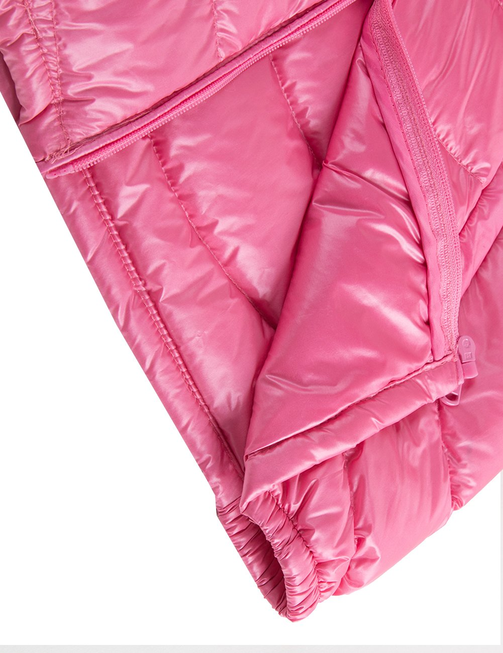 Spring&Gege Boys' Quilted Packable Hoodie Lightweight Puffer Jacket Windproof Outwear Children Warm Duck Down Coat for Boys and Girls Size 7-8 Years Pink by Spring&Gege (Image #9)