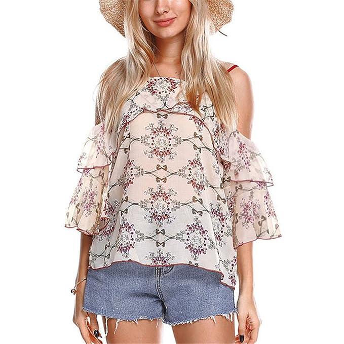 dangyin Blusa de Chifón con Hombros Descubiertos Blusas de Mujer Blusas de Verano con Estampados de Flores Apricot One Size: Amazon.es: Ropa y accesorios