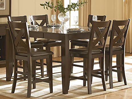 Awesome Crown Point 7 PC Counter Height Dining Set By Home Elegance In Merlot