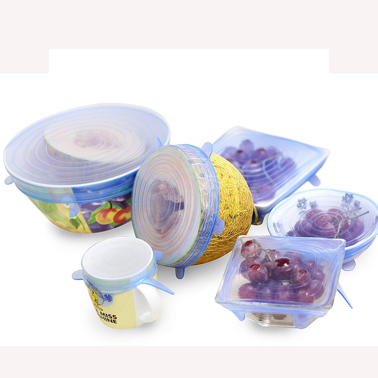 OUBORUI 6PCS/Set Silicone Food Lids Flexible Sealing Stretch Suit Pan Bowl Dish Covers