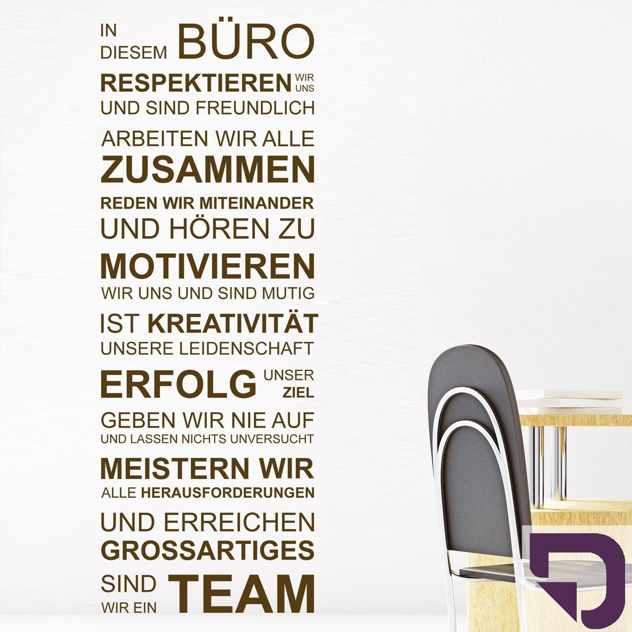 DESIGNSCAPE® Wandtattoo In diesem Büro respektieren wir uns, arbeiten arbeiten arbeiten wir alle zusammen, geben wir nie auf, sind wir ein Team... 67 x 180 cm (Breite x Höhe) schwarz DW801462-L-F4 B01DT7F6KO Wandtattoos & Wandbilder e3e184