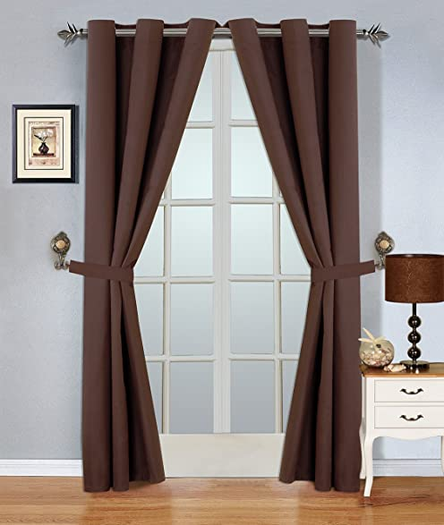 WPM 4 Piece Blackout Curtain Set. Grommet Curtains And Tie Backs (Brown)