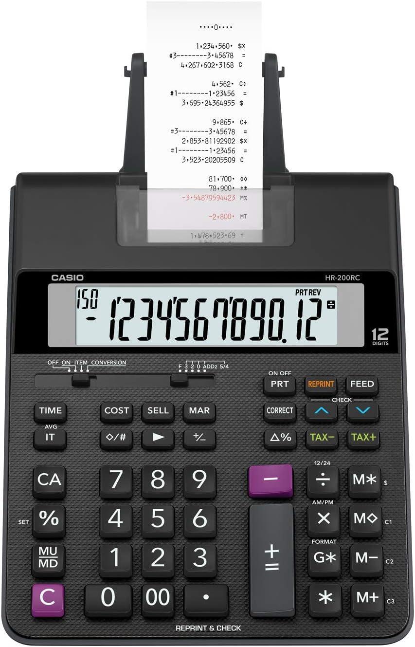 Casio Office Products HR-200RC Mini-Desktop Printing Calculator, Black