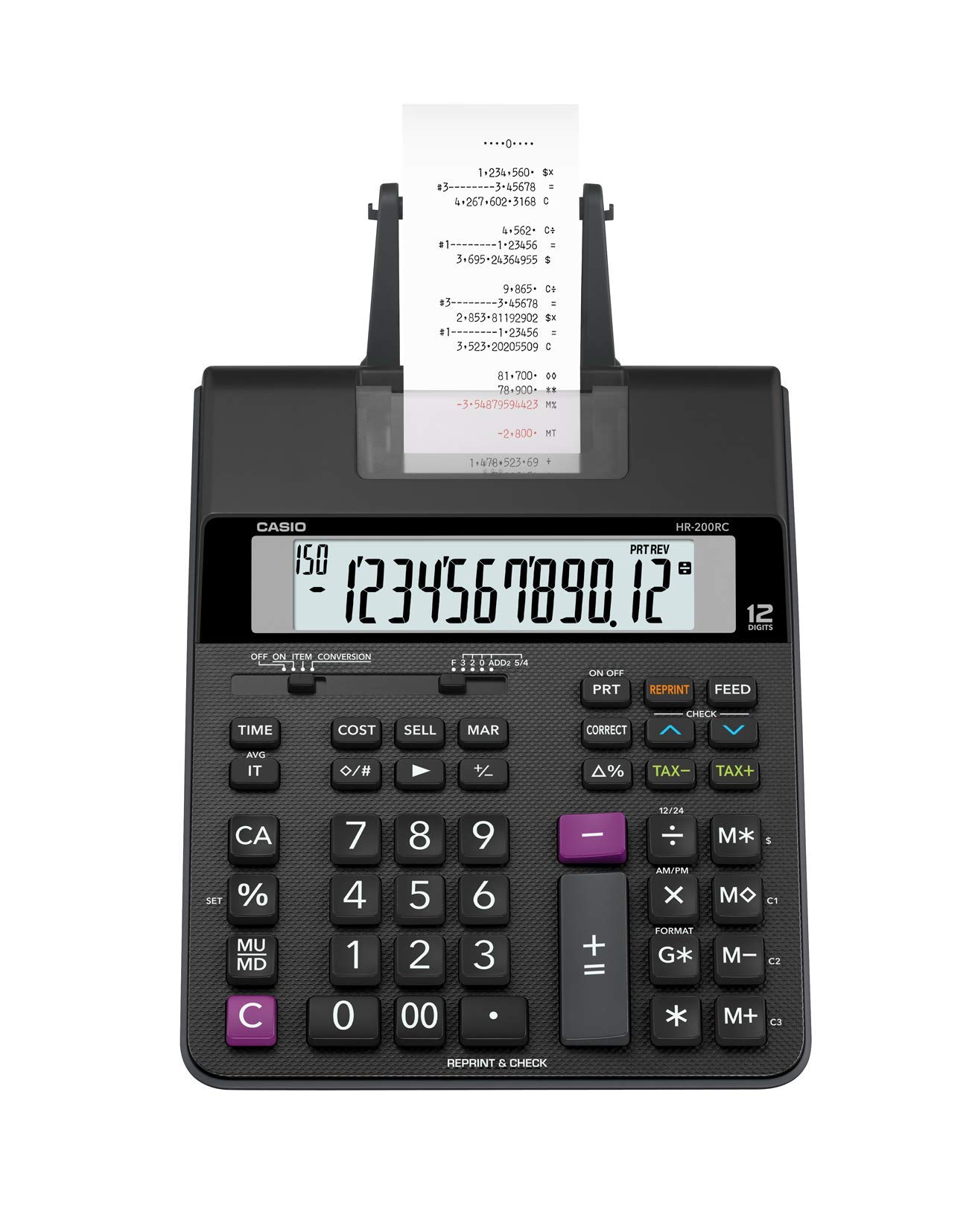 Casio Office Products HR-200RC Mini-Desktop Printing Calculator, Black by Casio Office Products