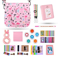 Kaka 13 in 1 Instax Mini 9 Camera Accessories for FujiFilm Instax Mini 9 8 8+ Camera with Mini 9 Case/Album/Selfie Lens/Filters/Wall Hang Frames/Film Frames/Border Stickers/Pen(Flamingo)