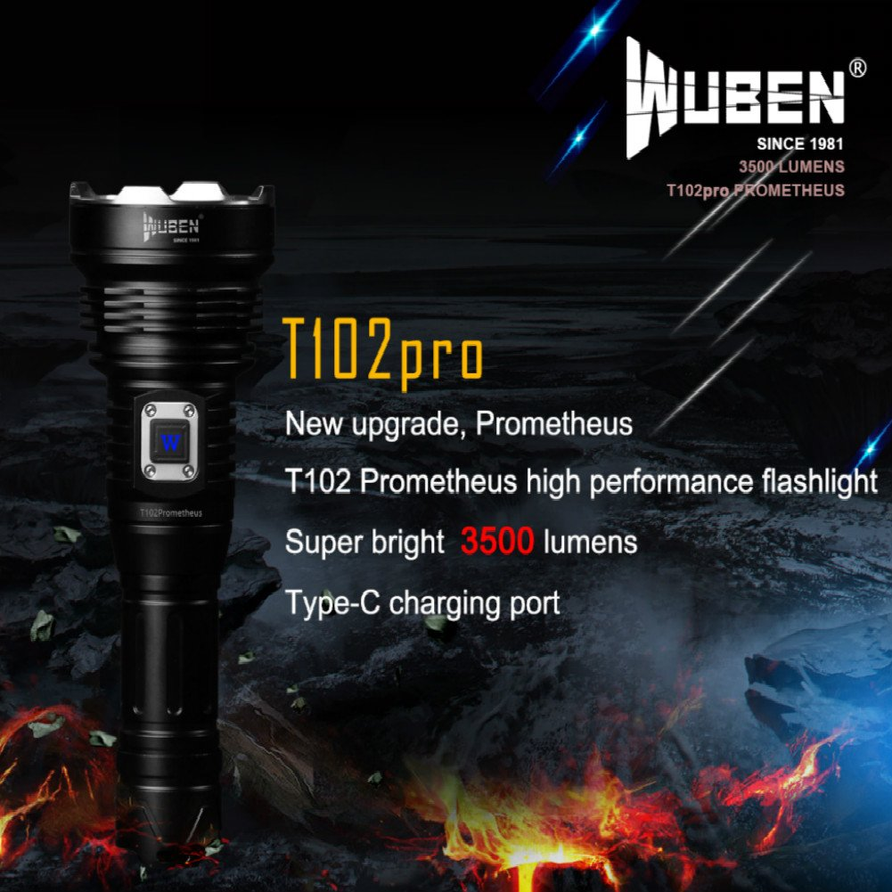 WUBEN T102pro Prometheus 3500 Lumens Flashlight with power indicator high drain battery 26650 by WUBEN (Image #2)