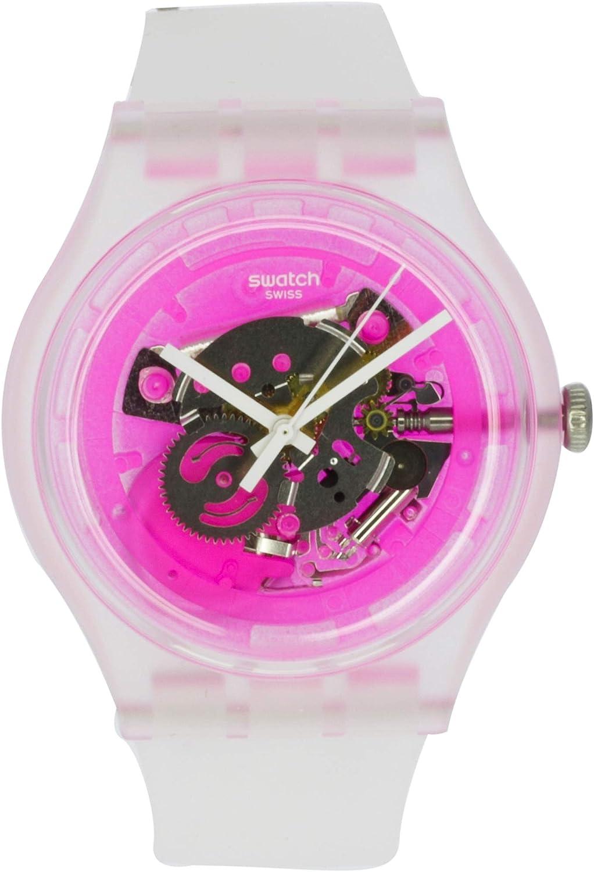 Swatch Pinkmazing SUOK130 - Reloj de cuarzo de silicona transparente