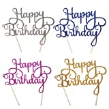 DesignerBox Pack of 4 HAPPY BIRTHDAY Cake Topper Birthday Cupcake Decoration Party Supplies – Gold, Silver, Blue and Rose Red