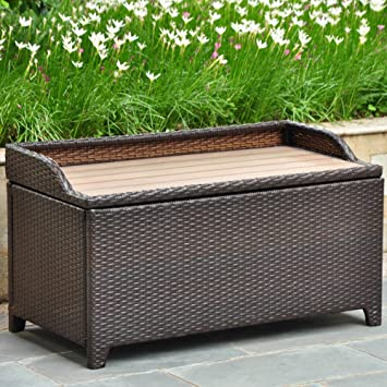 Lovely Wicker Resin/Aluminum Patio Bench With Storage
