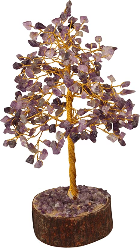 Amazon Com Fashionzaadi Amethyst Crystal Tree Gemstone Money Feng Shui Bonsai Trees For Good Luck Chakra Stone Healing Crystals Home Office Living Room Decor Gift Size 10 Inch Golden Wire Kitchen Dining