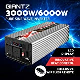 GIANTZ 3000W/6000W Pure Sine Wave Power Inverter 12V-240V Remote Camping Boat