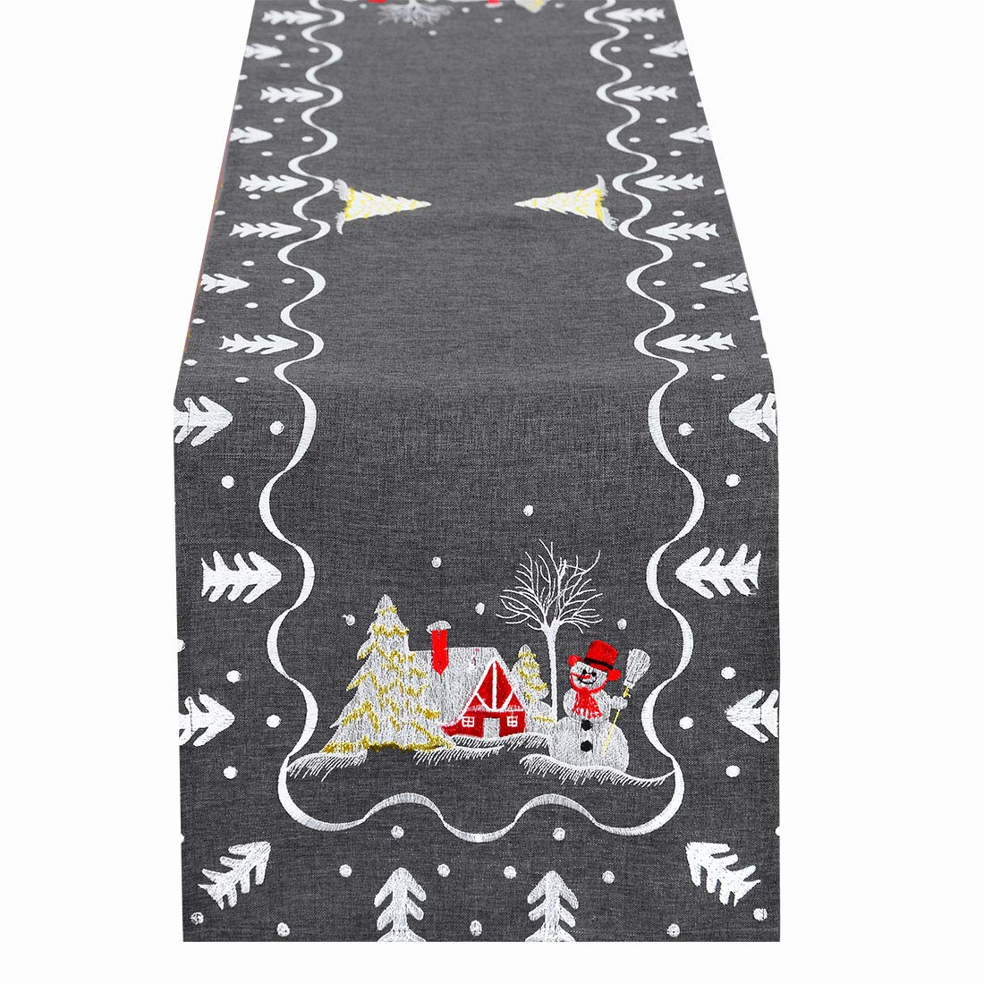 Simhomsen Embroidered Snowman Table Runner for Christmas Holidays Decorations  Dark Gray  13   69 Inch