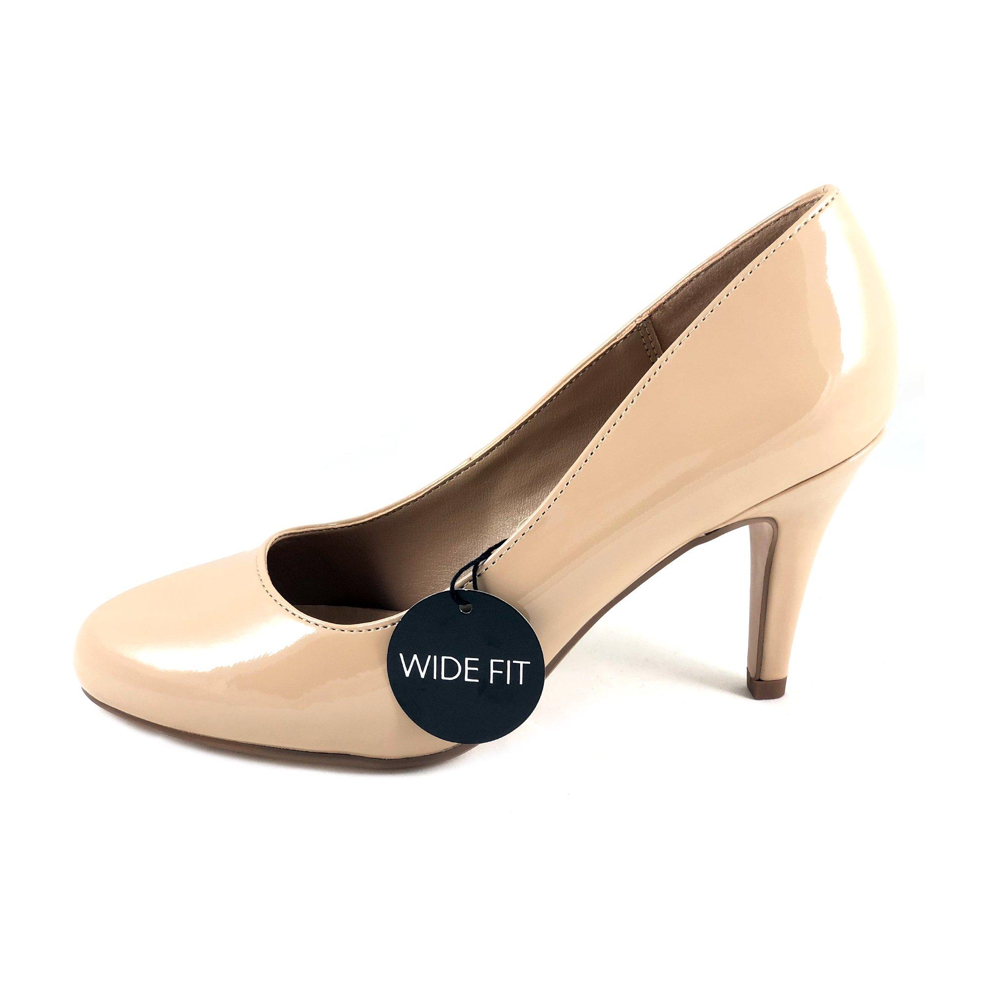 City Classified Guide Round Toe High Heel Dress Pump Wide Fit (10 B(M) US, Beige Pat)