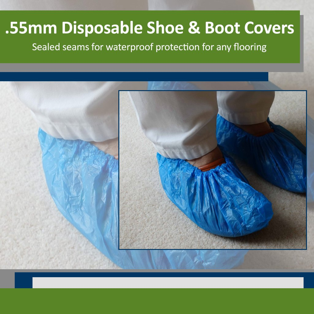 Blue CPE (.55 MM) Shoe & Boot Cover Booties, Water Proof CPE Material, Indoor & outdoor shoe or boot protection, Non Slip disposable (Size 2X 300 Pack) by Sara Glove (Image #1)