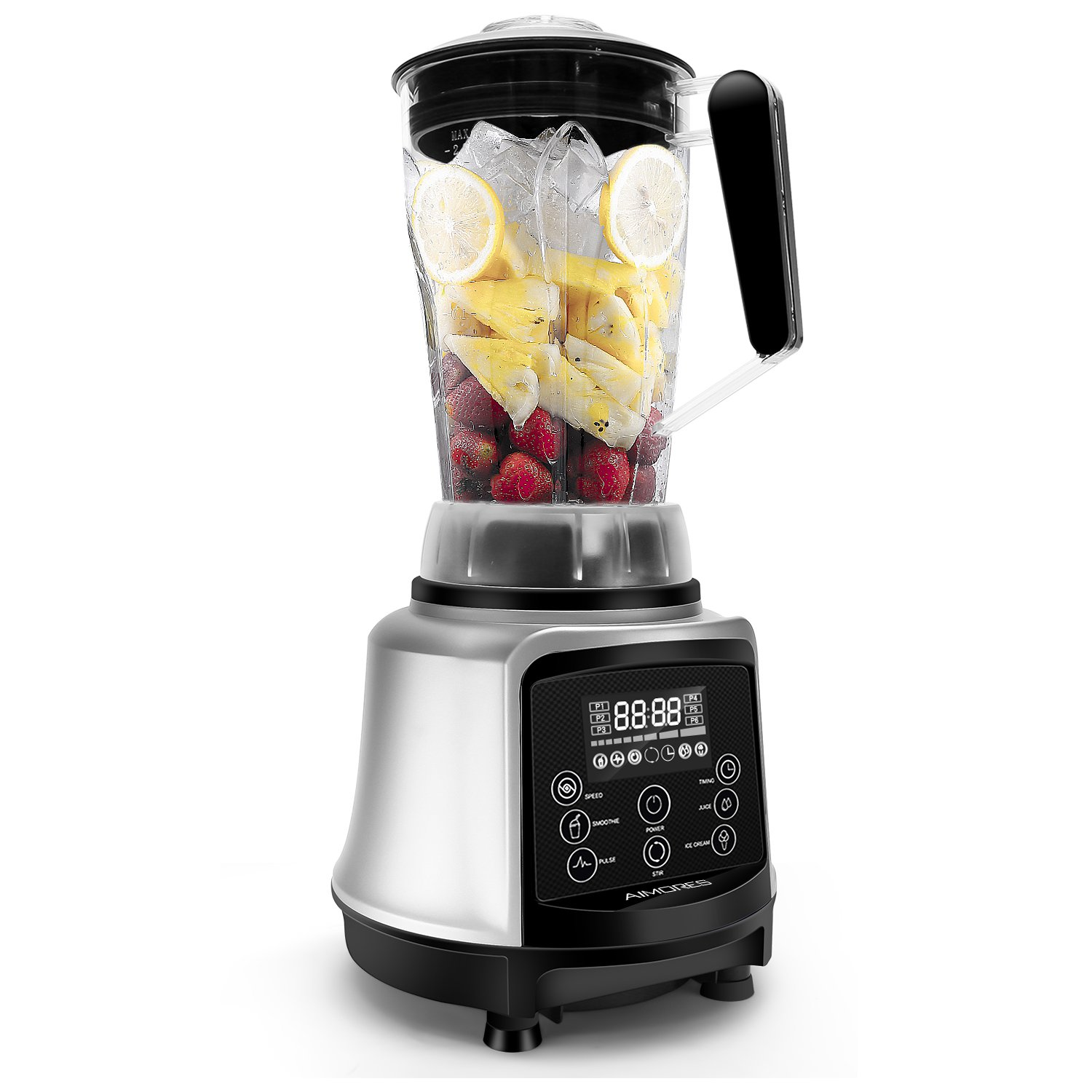 Professional Blender AIMORES for Smoothie | 3-in-1 75oz. High Speed Programmed Juicer Ice Cream Maker | Auto Clean, 6 Blades, w/ Recipe & Tamper | ETL & FDA Certified (Silver)