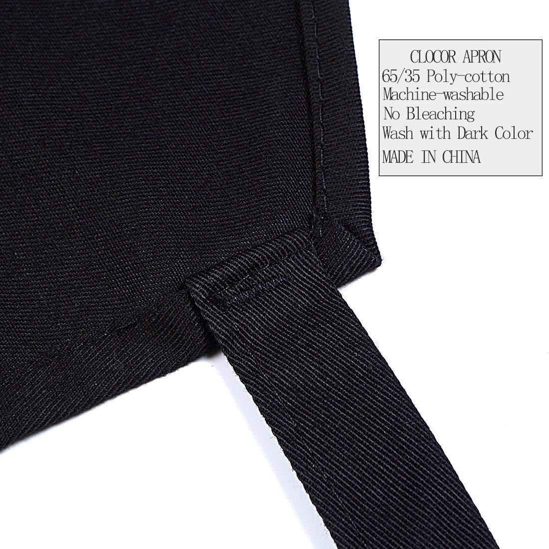 Adjustable 2 Pockets Durable Bib Apron - Black Extra Long Ties(32\