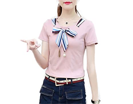 OUXIANGJU New ETE Women Patchwork Shirts Blouse Plus Size Short Sleeve Blusas Striped Bow Tops