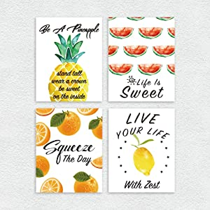 Ihopes Modern Wall Art Prints Decor - Set of Four 8x10 Unframed - Funny Fruit Art Sign with Positive Quotes Pineapple/Orange/Lemon/Watermelon Posters - Perfect for Kitchen/Living Room/Home Decor