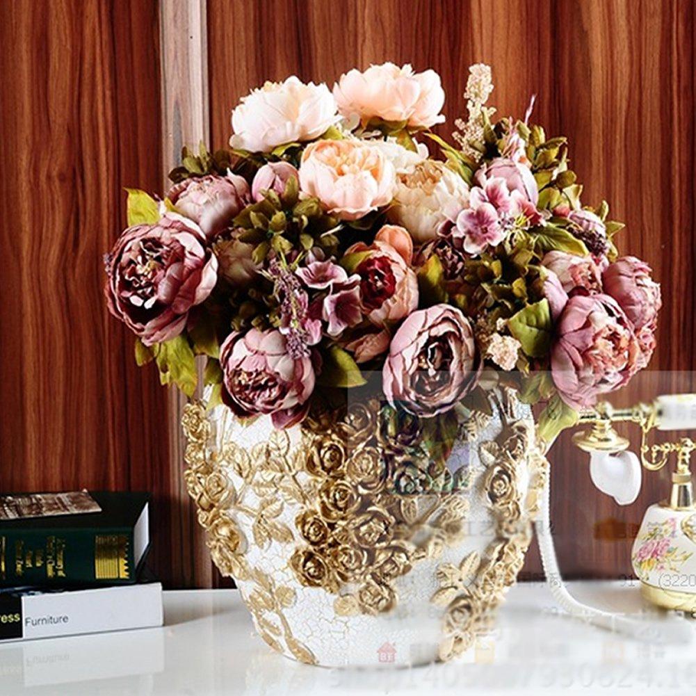 Vintage Flower Arrangements For Wedding: HeroNeo® 10 Head Bouquet Vintage Artificial Peony Silk
