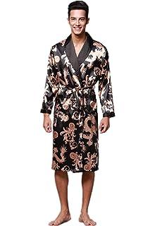 VERNASSA Mens Satin Robe Silk Long Sleeve Kimono Bathrobe Sleepwear  Loungewear 59939a8fd