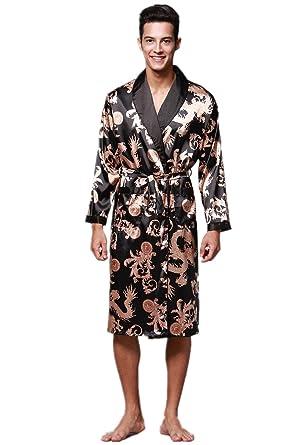 VERNASSA Mens Satin Robe Silk Long Sleeve Kimono Bathrobe Sleepwear  Loungewear Black 5a75d4e34