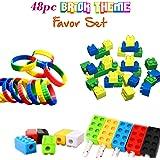 Brick Building Blocks Party Favor Novelty Toys Set, Block Bracelets, Erasers, Sharpeners, 48pcs, Great for Children Birthdays, Kid's Goody Bags, Reward Prize Boxes