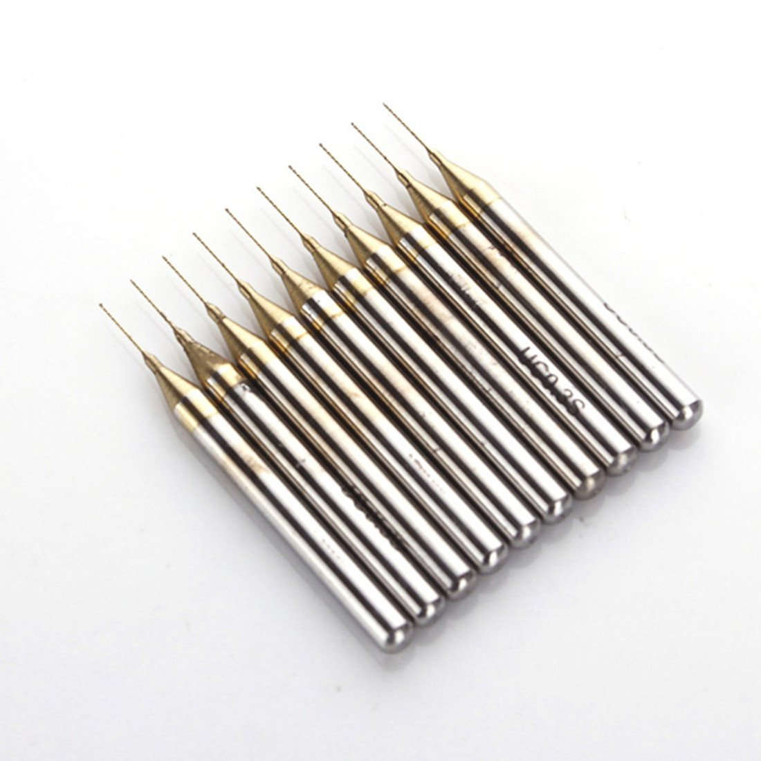 Pack 10 x puntas grabado, Brocas para taladro nitruro de titanio metal de PCB Dremel joyas CNC - Broca 0.3 mm Router SMO