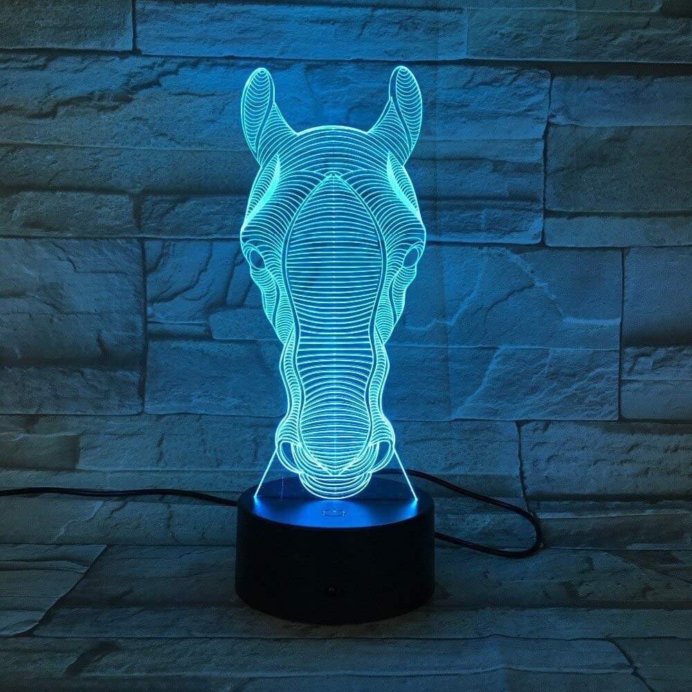 Zebra Head LED Party Atmosphere Light Juguete decorativo Iluminación Gadget LED Night Light 3D Illusion Lamp Horse Face Light