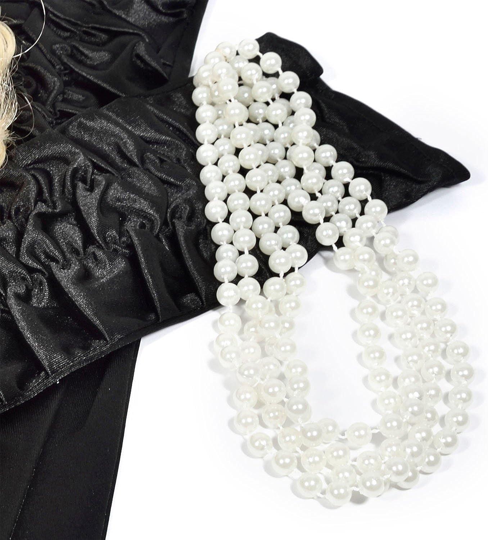 GOODS + GADGETS Charleston - Collar de perlas de 180 cm de largo con perlas blancas para disfraz de Burlesque
