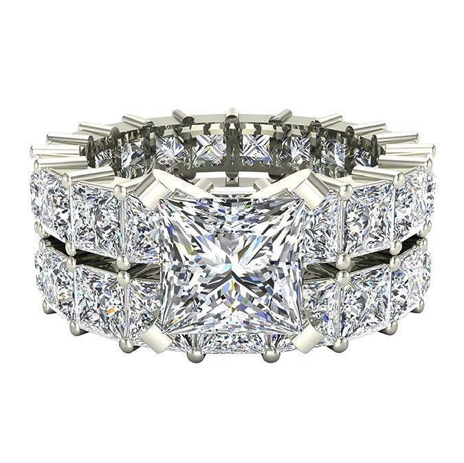 Amazon.com: Juego de anillos de boda de diamante de princesa ...