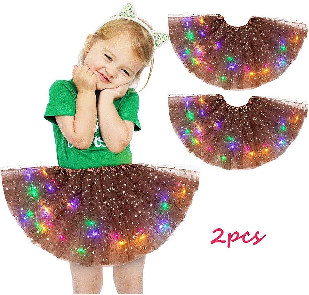 2pcs Kids Girls Baby Sequin Tutu Skirt Toddler Girl Rainbow Dress LED Light Up Pettiskirt Ballet Clothes for 2-8Years