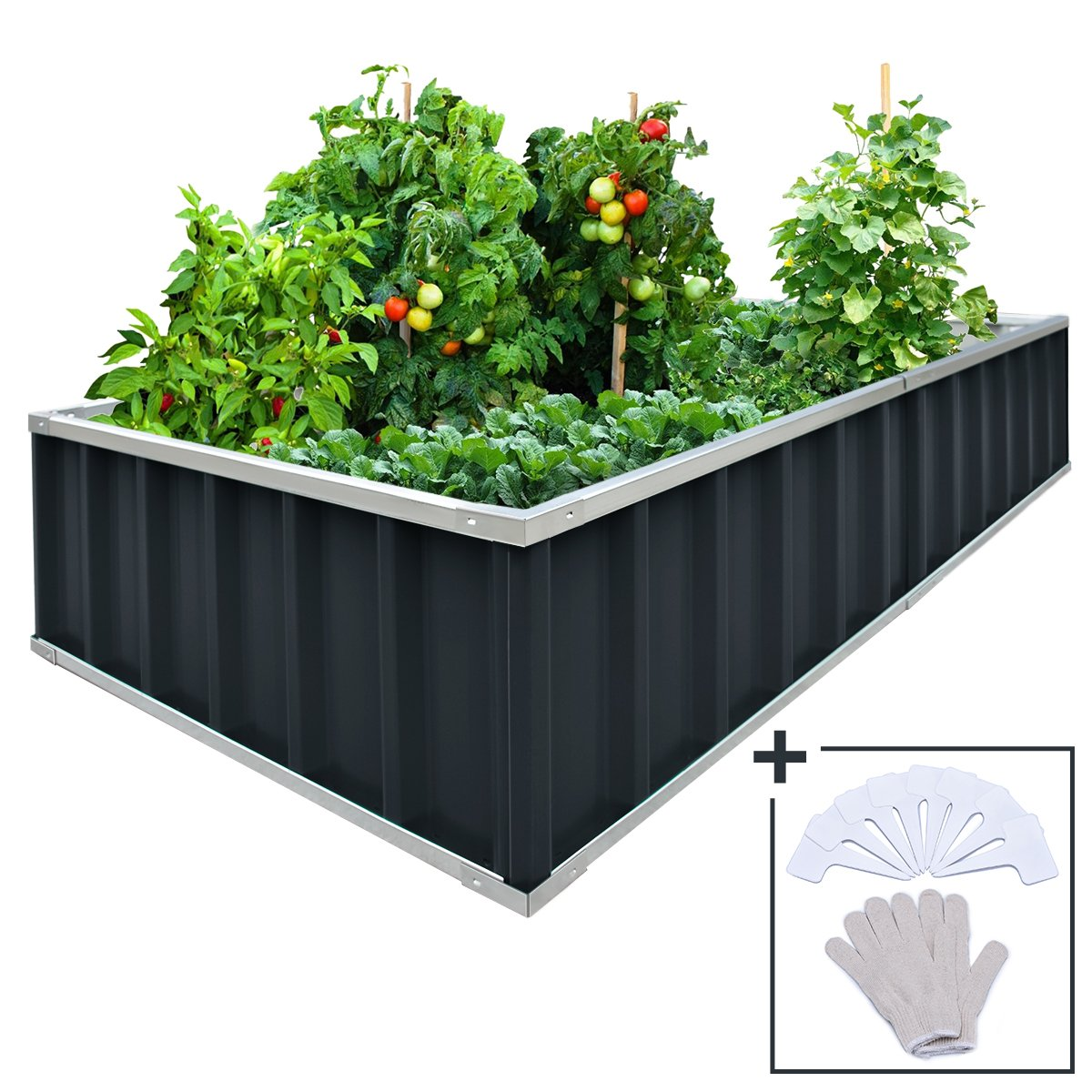 KING BIRD Extra-Thick 2-Ply Reinforced Card Frame Raised Garden Bed Galvanized Steel Metal Planter Kit Box Green 68 x 36 x 12 with 8pcs T-Types Tag 1 Pair of Gloves Grey, 17 Cu. Ft.