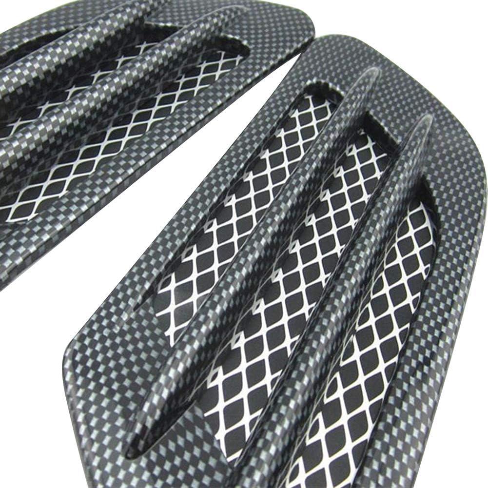 Black idain 2PCS Decorative Air Vent Hood Air Flow Intake Universal Car Decorative Air Scoop Intake Hood Vent Bonnet