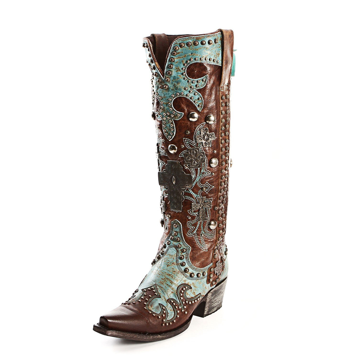 Lane Women's For Double D Ranch Ammunition Cowgirl Boot Snip Toe Brown 7 M US